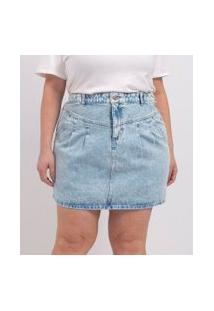 Saia Curta Jeans Com Pregas Curve & Plus Size | Ashua Curve E Plus Size | Azul | 54