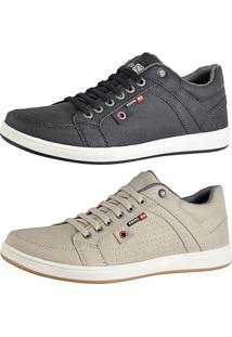 Kit Tênis Sapatenis Cr Shoes Com Elástico Lançamento Preto E Bege
