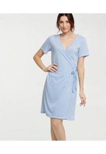 Robe Marisa Estampa Bolinhas Manga Curta Feminino - Feminino-Azul