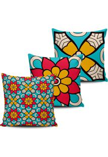 Kit 3 Capas Almofadas Decorativas Floral Azul E Pink 45X45Cm