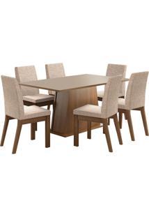 Sala De Jantar Madesa Rebeca Mesa Tampo De Madeira Com 6 Cadeiras