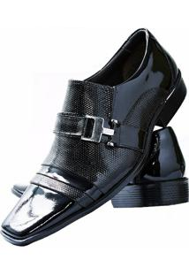 Sapato Social Envernizado Gofer Couro - Masculino-Preto