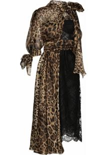 Dolce & Gabbana Vestido Midi Animal Print Com Renda - Preto