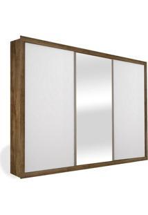 Armário 3 Portas De Correr 2,46M Com Espelho, Teca Com Branco, Premium Plus