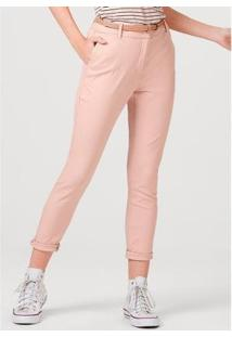 Calça Básica Alfaiataria Feminina - Feminino-Rosa