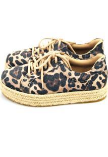 Tênis Flatform Love Shoes Corda Linho Onça