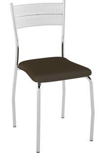 Kit C/ 2 Cadeiras Encosto Branco Assento Cacau Pozza