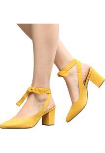Scarpin Em Suede Vizzano Amarração Bico Fino Feminino - Feminino-Amarelo