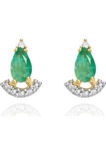 Brinco Em Ouro Amarelo 18K Com Diamante, Esmeralda - Orientais