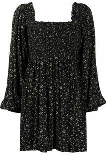 Ganni Vestido Franzido Com Estampa Micro - Preto