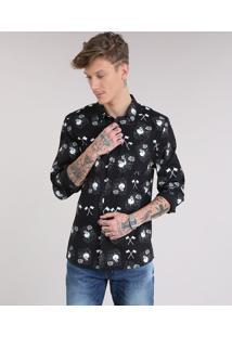 Camisa Masculina Estampada Com Caveiras Manga Longa E Bolso Preta