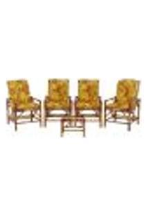 Conjunto Mesa E 4 Cadeiras De Bambu Cancun Para Área Edicula Jardim G26