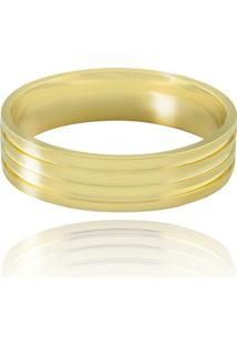 Aliança Casamento Trabalhada Em Ouro 18K Florença - Masculino - Masculino-Dourado