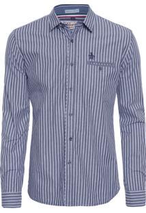 Camisa Masculina Listrada Carbon Brush - Cinza