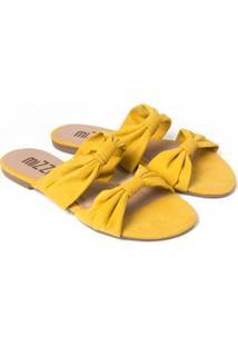 Sandália Rasteira Mizzi Shoes Duplo Nó Feminina - Feminino-Amarelo