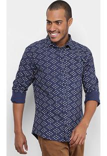 Camisa Colcci Slim Full Print Masculina - Masculino-Marinho