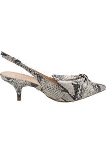 Scarpin Cindy Slingback Kitten Heel Bow Python | Schutz