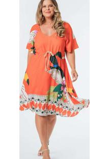 Vestido Almaria Plus Size Munny Midi Estampado Lar