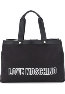 Love Moschino Bolsa Tote Com Patch De Logo - Preto