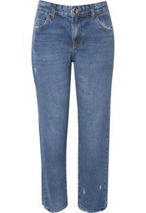 Calça Le Lis Blanc Paula Straight Barra Puída Jeans Azul Feminina (Jeans Claro, 42)