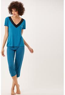 Pijama Joge Longo Azul - Azul - Feminino - Dafiti