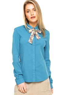 Camisa Manga Longa Carmim Faixas Decorativas Azul