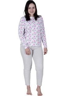 Pijama Longo Brilha No Escuro Algodão Cinza