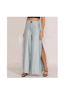 Calça Feminina Pantalona Cintura Super Alta Acetinada Com Fenda Verde Claro