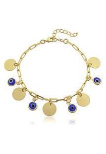 Pulseira Viva Jolie Azul E Branco Medalha E Olho Grego Banho Em Ouro