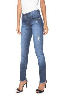 868a2aab8 Dafiti. Calça Jeans Destroyed Slim Feminina Colcci Azul
