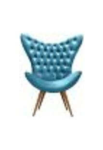 Poltrona Alice Egg Decorativa Com Capitonê Strass Base Pé Palito Madeira - Veludo Azul