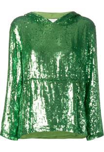 P.A.R.O.S.H. Blusa De Moletom Com Paetês E Capuz - Verde