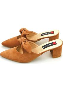 Tamanco Salto Grosso Love Shoes Mule Scarpin Laço Caramelo