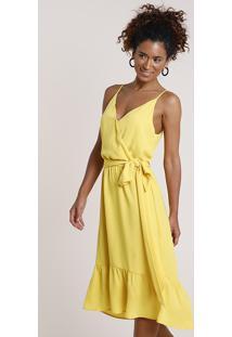 Vestido Feminino Midi Com Transpasse E Faixa Para Amarrar Alça Fina Amarelo