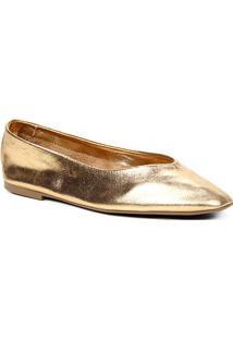 Sapatilha Couro Shoestock Confort Sem Forro Feminina - Feminino-Ouro