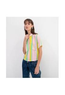 Camisa Cropped Com Bolsos Frontais Estampa Listras | Blue Steel | Multicores | P