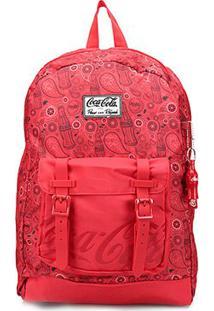 Mochila Coca-Cola Paisley G - Feminino-Vermelho