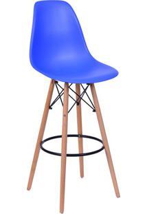Banqueta Eames Dkr- Azul & Madeira Clara- 106X56X56Cor Design
