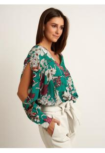Blusa Le Lis Blanc Lorena Floral Seda Estampado Feminina (Estampa Floral Verde, 34)