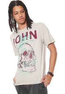 Camiseta John John Estampada Bege