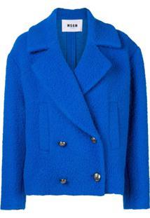 Msgm Bouclé Oversized Jacket - Azul