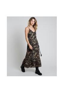 Vestido Feminino Longo Estampado Camuflado Com Amaração E Babado Alça Fina Verde Militar