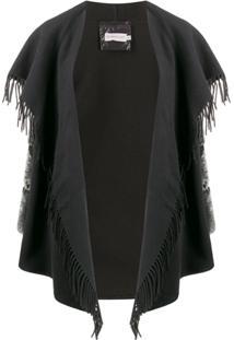 Moncler Jaqueta Matelassê Cloak Drapeado - Preto