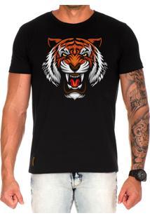 Camiseta Lucas Lunny T Shirt Estampada Tigre Preto