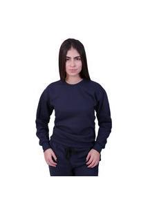 Blusa Moletom Feminina Lisa Fechada Azul Marinho