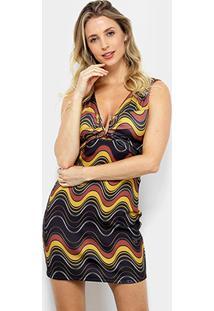 680482f87 ... Vestido Lança Perfume Tubinho Curto Estampado Devote V Metal -  Feminino-Amarelo+Marrom