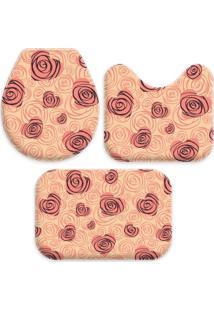 Jogo Tapetes Love Decor Para Banheiro Coração Com Flor Geometrico Salmão Único - Kanui
