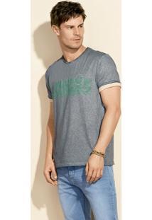 Camiseta Masculina Regular Em Malha Flamê De Algodão Com Estampa