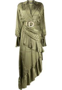 Balmain Vestido Assimétrico Jacquard - Verde