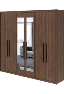 Guarda Roupa Áries 6 Portas Com Espelho Imbuia Naturale/Off White